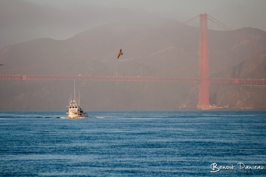 Bateau de pêche, Golden Gate Bridge dans la brume, à San Francisco