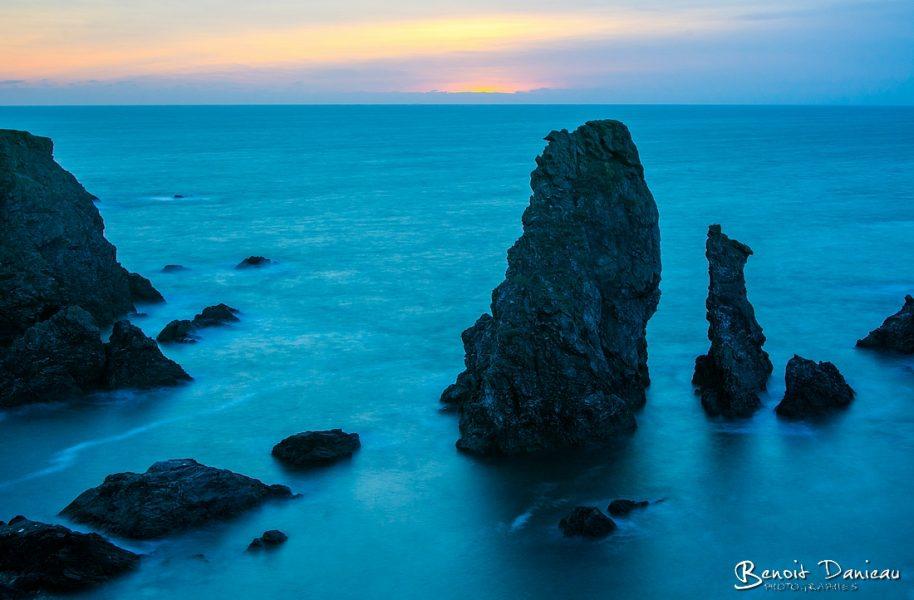 aiguilles de port coton coucher du soleil belle ile en mer
